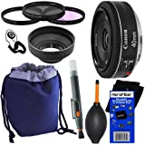 Canon EF 40mm F/2.8 STM Pancake Lens For Canon EOS 7D 60D EOS Rebel SL1 T1i T2i T3 T3i T4i T5i XS XSi XT & XTi Digital SLR Cameras + 10pc Bundle Deluxe Accessory Kit W/ HeroFiber Ultra Gentle Cleaning Cloth
