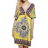 Women Summer Deep V-Neck Print Cover Up Beach Dress - B01G5ZFPDA