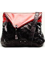 Twach Wrinkled Tripper Cross Body Leather Bag (Red Black)