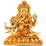 Exotic India Seated Ganesha With Radish - Copper Sculpture Gilded With 24 Karat Gold