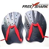 Free Shark Professional Contoured Swim Training Paddles (Red/Black), Free Size/Black/Red