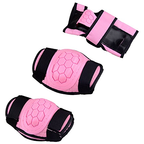 Kids Children Roller Skating Skateboard BMX Scooter Cycling Protective Gear Pads (Knee pads+Elbow pads+wrist pads) (Pink, S)