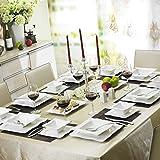 Malacasa, Serie Mario, 28-teilig Kombiservice aus Weißen Porzellan Geschirrset im Klassischen Design mit 6 Schalen, 6 Dessertteller, 6 Suppenteller, 6 Speiseteller, 2 Rechteckigen Platten und 2 Salz- und Pfefferdosen
