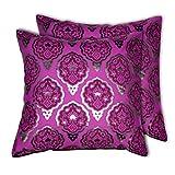 House This Darbaar-Buti Purple Set Of 2 Cushion Covers- 16 X 16