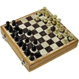 Artist Haat Handcrafted Indian Natural Soapstone Chess Set With Chess Pieces (Beige And Black, 15*15*4 Cm Approx.)