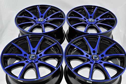 16″ Wheels Rims DDR ST15 Black with Polished Blue Finish 16×7 5×100 5×114.3 38mm Offset 5 Lugs Bolt Pattern 5×100/114.3 (Set of 4)