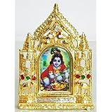 DollsofIndia Bal Gopal On Stone Studded And Golden Carved Metal Frame - Metal Frame - B00LD5SMJM