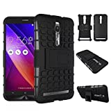 Kick Stand Spider Hard Dual Rugged Armor Hybrid Bumper Back Case Cover For Asus Zenfone 2 Black