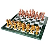 "15"" X 15"" Collectible Green Marble Chess Board Game Set + Brass Roman Pieces"