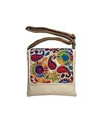 Bhamini Jute Sling Bag With Rainbow Flap (Light Gold)