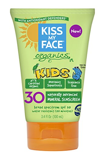 Theme Park Food and Safety EWG 2016 Top Rated Sunscreen for Kids - Kiss My Face Kids Mineral SPF 30 Natural Organic Sunscreen, 3.4 Ounce