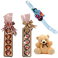 Skylofts Character Chocolates (Pack Of 2) With A Cute Teddy, LED Rakhi & Teeka Combo- Rakhi Chocolates
