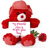 TiedRibbons® Valentine's Day Gifts For Wife Teddy Bear With Valentine's Special Greeting Card And Red Rose