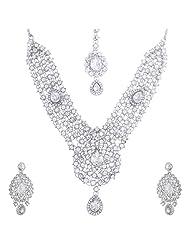 Nimble Silverish Metal Choker Necklace Set For Women - B00XVMJLZE
