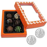 Chocholik Belgium Chocolate Gifts - Exceptional Combination Of Tempting Truffles With 5gm X 2 Pure Silver Coins...
