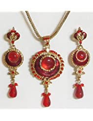 Red Stone Studded Pendant With Chain And Earrings - Stone And Metal