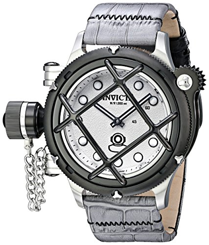 Men's Russian Diver Mechanical Grey and Black Leather Silver