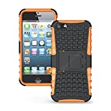 Flip Kick Stand Hard Dual Armor Hybrid Bumper Back Case Cover For Apple IPhone 5 5S 5G - Orange