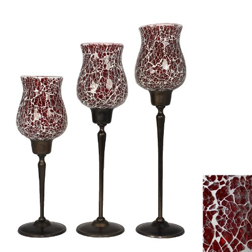 Arty 3pc Red Mosaic Glass Candle Holders