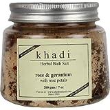 Khadi Rose & Geranium Bath Salt With Rose Petals,200g