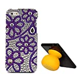 VanGoddy Flower Rhinestones Full Diamond Back Cover For Apple IPhone 5s (Purple) + Bluetooth Suction Stand Speakers...