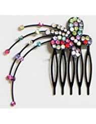 Multicolor Crystal Studded Butterfly Hair Comb - Stone And Metal