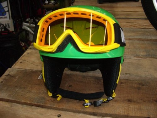 Uvex x-ride junior Set Skihelm in green und Brille in gelb