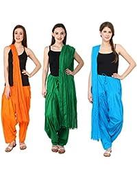 Pistaa Combo Of Cotton Orange, Pak Green And Turquoise Blue Patiala Salwar Dupatta Set