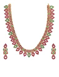 Kumud Fashion Traditional Gold Polished Semi Precious Ruby And Emerald Necklace Set With Pair Of Earrings