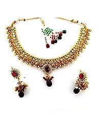 Seasons4 Red Metal Choker Necklace-Earring Set For Women-NA10A305