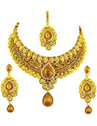 Ameeyo Faux Pearl Traditional Bridal Necklace Set For Women (NLBL0039CIT)