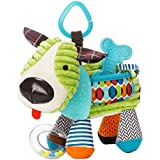 Newborn Baby Plush Animal Toy Rattle For Crib, Car Seat Or Stroller Puppy