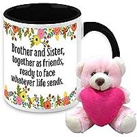 Mug For Sister - HomeSoGood Brother And Sister Always Together White Ceramic Coffee Mug With Teddy - 325 Ml