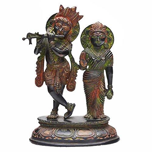Indian Arts Shop Radha Krishna In Antique Finish Brass (9.4 Cm X 16.76 Cm X 26.67 Cm, )