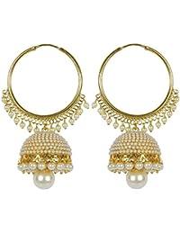 Amaal Jewellery Gold Plated Pearl Jhumka Earring Ear Rings For Girls Women Earring Necklace Jewellery Jhumki-J0148
