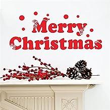 Alcoa Prime Big Red Letter Merry Christmas Window Wall Sticker Shop Show Case Decor Window Stickers Xmas Drop...