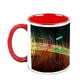 HomeSoGood Sparkling Musical Notes White Ceramic Coffee Mug - 325 Ml