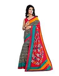Anu Designer Self Print Saree (6407A_Multi-Coloured)