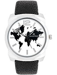 Swisstone GR0018-WHT-BLK White Dial Black Strap Analog Wrist Watch For Men/Boys