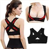 Women Stretchable Breast Push Up Brace Bra & Back Support, Posture Corrector, CorsetBelt (L, Black)