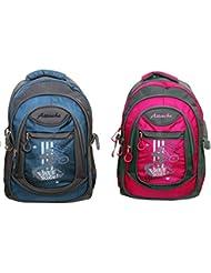 Attache Stylish School Bag (Blue & Pink) Set Of 2