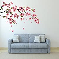 DeStudio Sakura Blossom Japanese Cherry Tree With Flying Petals, Multi Color, Wall Stickers (Wall Covering Area...