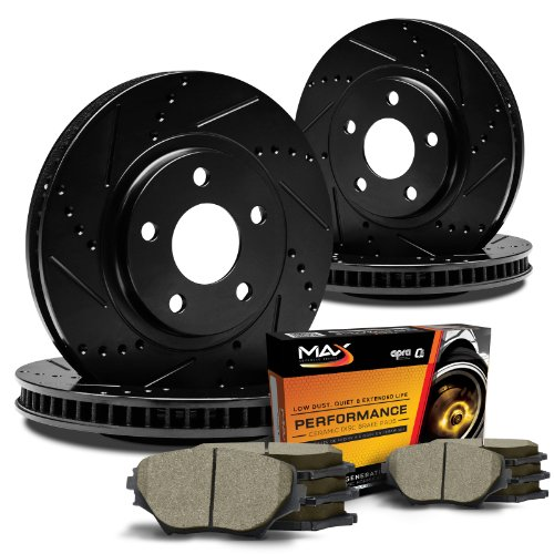 Max KT023683 [ELITE SERIES] Front + Rear Performance Slotted & Cross Drilled Rotors and Ceramic Pads Combo Brake Kit