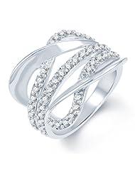Sukkhi Sublime Rhodium Plated CZ Studded Ring