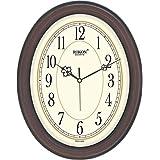 Rikon Quartz Plastic Oval Shape 27 Cm X 34 Cm Fancy Premium Home Decor Wall Clock (Brown Ivory) For Home And Office