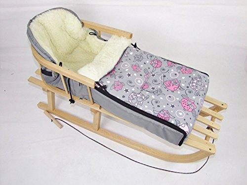 Babys-Dreams *KOMBIPAKET* Holzschlitten mit Rückenlehne + Zugleine + Winterfusssack 108cm EULEN §2 aus Lammwolle für Kinderwagen - WOLLE - Lehne -Kinderschlitten - Schlitten aus Holz Kinderschlitten NEU