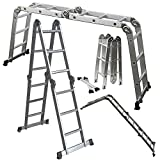 OxGord® Aluminum Telescopic Ladder 12.5 FT Heavy Duty Commercial Grade – Extendible Work Light Weight Multi-Purpose System Steps for Library, Attic & or even Household Use Cleaning Windows Etc. – 330 LB Capacity – 2016 Newest Technology