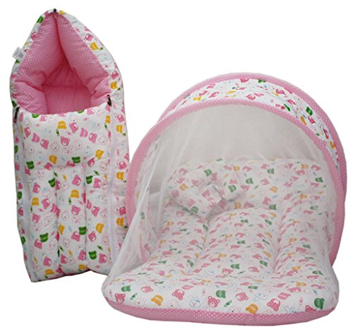 Baby Mattress With Mosquito Net, Sleeping Bag Combo 0-3 Months (pink)
