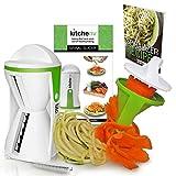 Kitchen-nv® Spiral-Schneider Gemüse-Spar-Schälerfür Zucchini-NudelnRohkost Veggie Slicer Spiralizer Julienne - Weiß