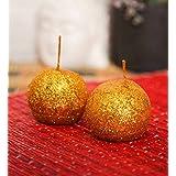 Blackberry Overseas Set Of 2 Decorative Ball Shaped Sparkle Pillar Candle - B016A2IM56
